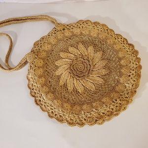 Adorable vintage floral wicker purse